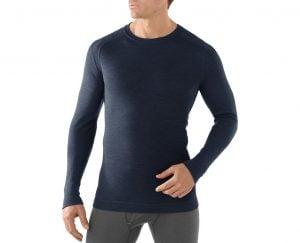 Blue Merino Wool Sweater on male model