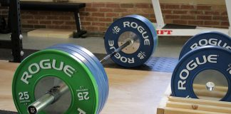 Rogue Competition Bumper Plates in Garage Gym