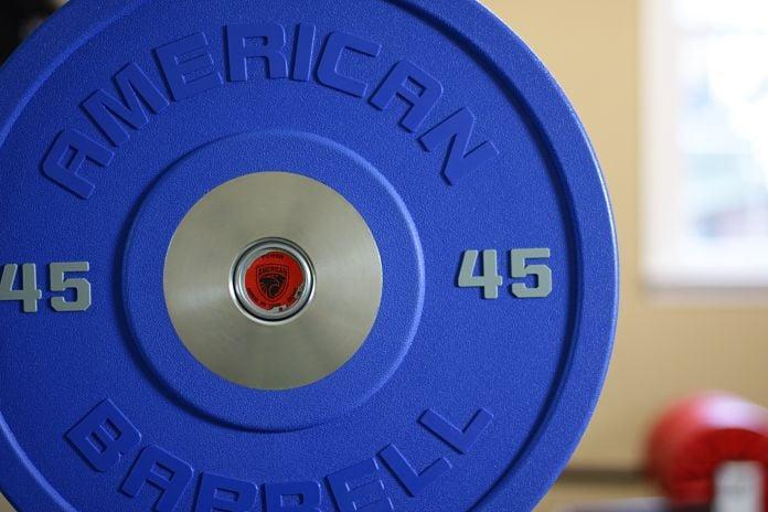 American Barbell Urethane 45 lb Front Garage Gym Lab