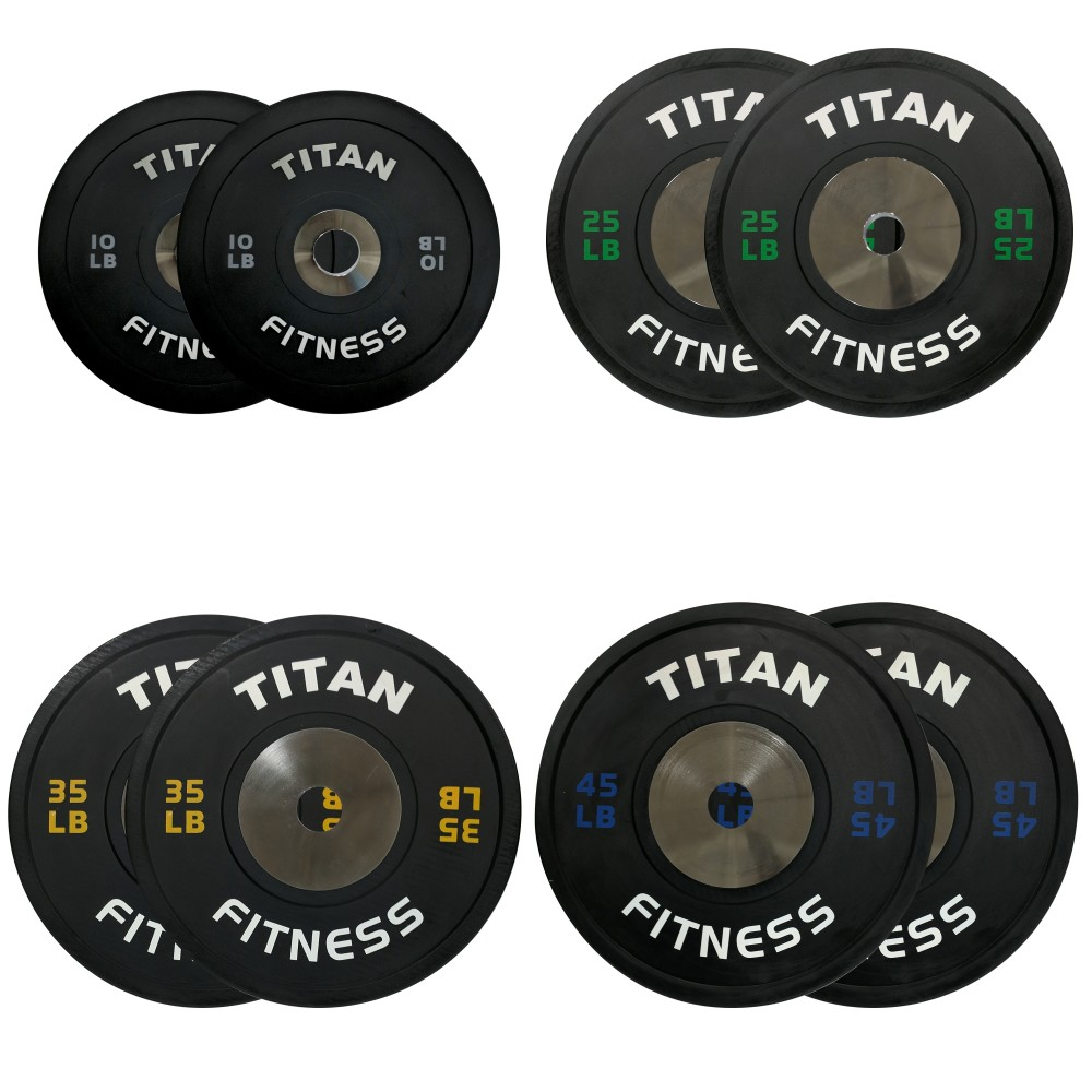 Titan Elite Olympic Bumper Plates Garage Gym Lab