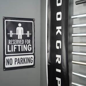 Garage Gym Lab No Parking Banner - Black 4
