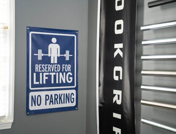 Garage Gym Lab No Parking Banner - Blue 5