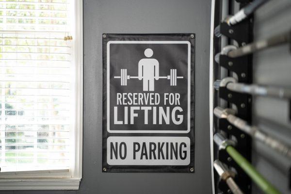 Garage Gym Lab No Parking Banner - Black 2