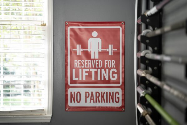 Garage Gym Lab No Parking Banner - Red 1