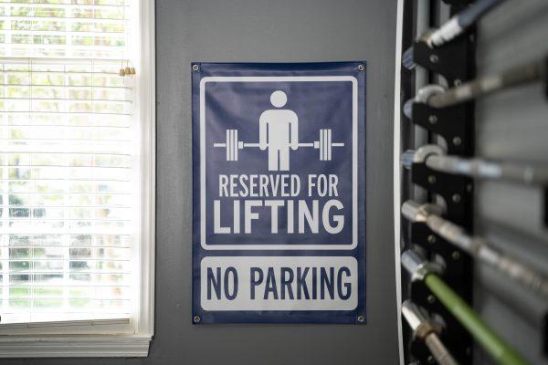 Garage Gym Lab No Parking Banner - Blue 1
