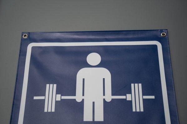 Garage Gym Lab No Parking Banner - Blue 3
