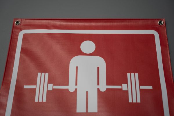 Garage Gym Lab No Parking Banner - Red 2