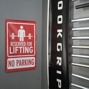 Garage Gym Lab No Parking Banner - Red 4