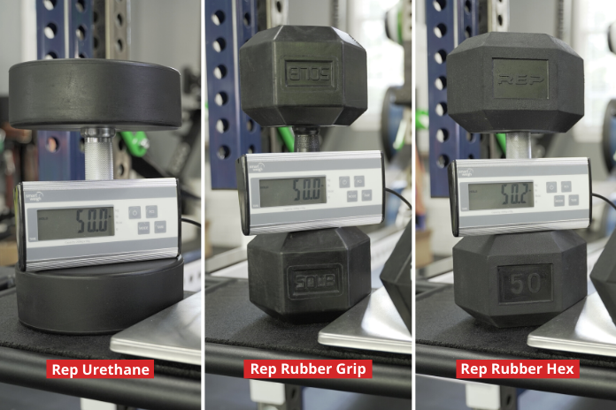 all three dummbell options showing overall weight accuracy with red labels and white lettering
