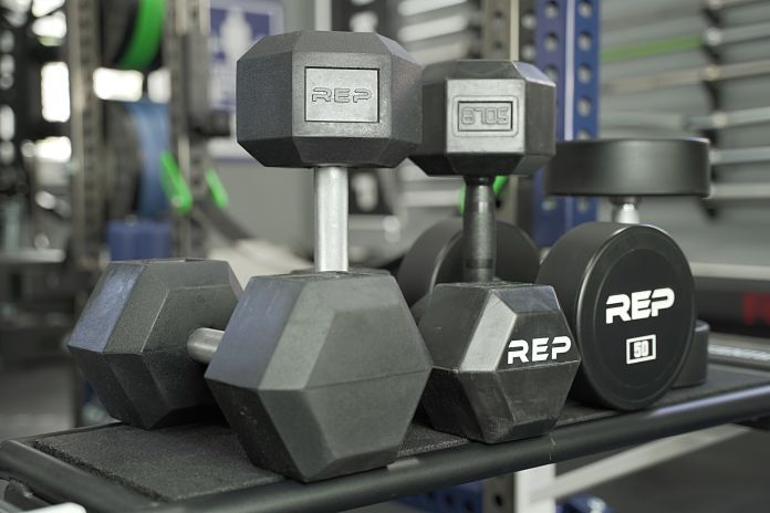 Rep Fitness Rubber Hex, Rubber Grip, and Urethane Dumbbells