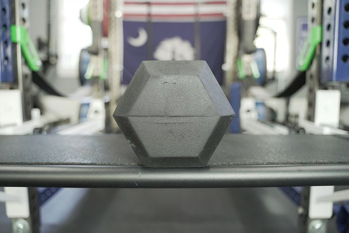 black rubber hex dumbbell head showing size