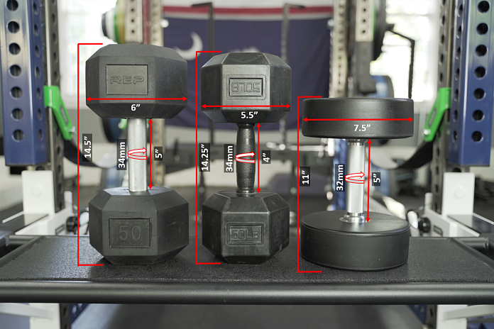 dimensions of all of the dumbbell options from Rep including the rubber hex, rubber grip, and urethane DBs