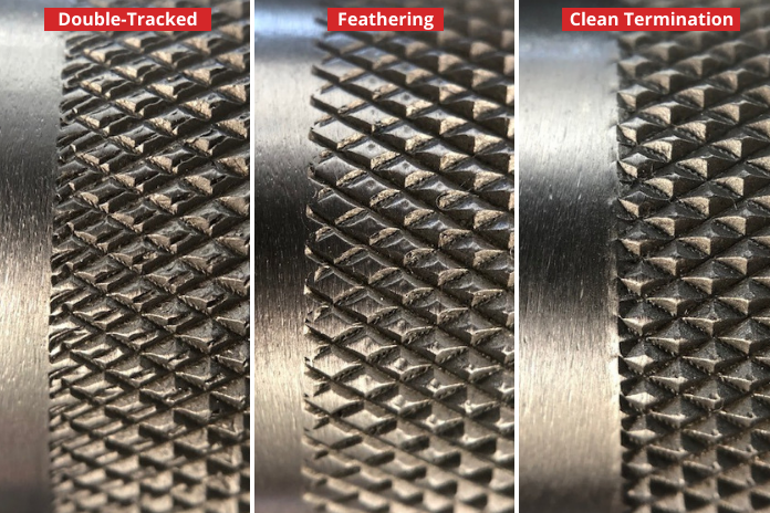 three close-up examples of knurling areas on the rep fitness power bar EX including double tracking, feathering, and an example of proper machining