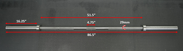 measurements of the rep stainless aggressive power bar showing length and diameter of sections of the barbell