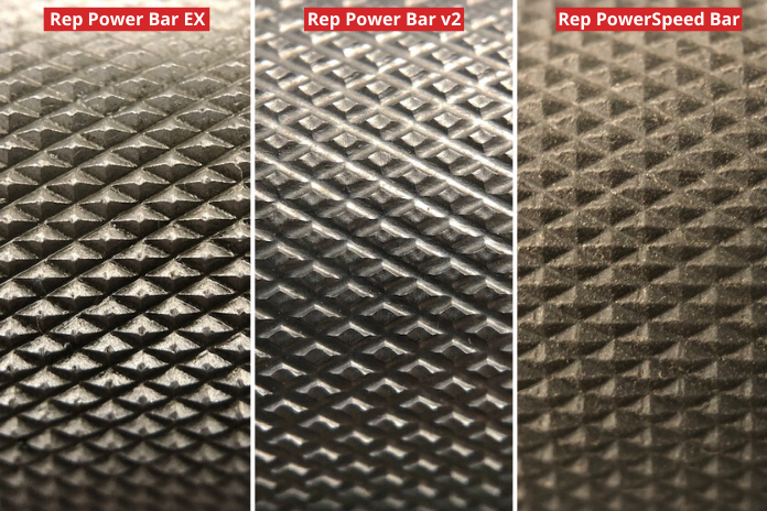 three images comparing the knurling of various powerlifting bar options from Rep Fitness