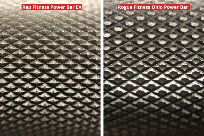 close-up knurling comparison show comparing the deep knurl power bar from Rep to the Rogue Fitness Ohio Power Bar