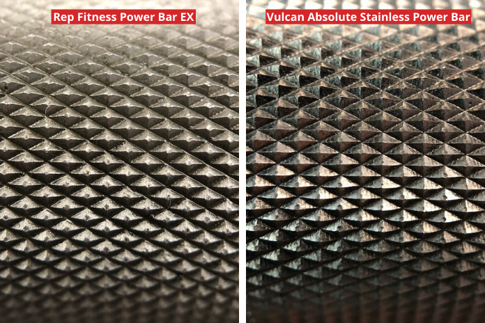 close-up knurling comparison between the vulcan absolute power bar and the stainless steel aggressive power bar from Rep