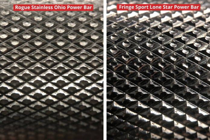 Stainless Rogue Ohio Power Bar vs. Fringe Sport Lone Star Power Bar - Garage Gym Lab